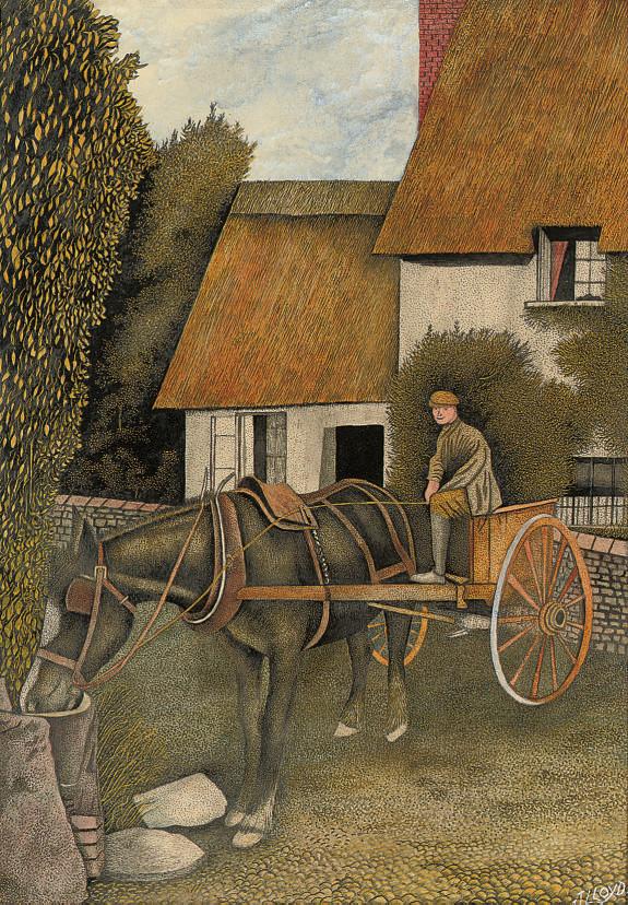 Horse drinking; Woman walking under trees