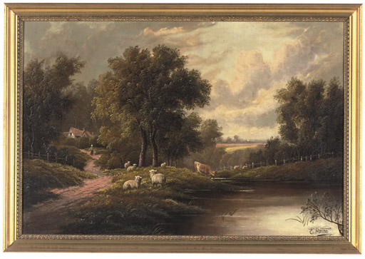 Figures resting on a track; and Cattle and sheep grazing by a river, a cottage beyond