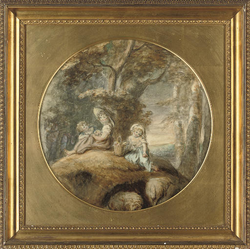 Three children, seated in a landscape, with a basket of wild flowers
