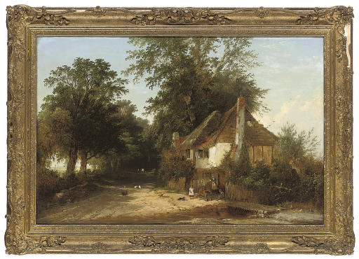 Figures before a cottage on a wooded lane