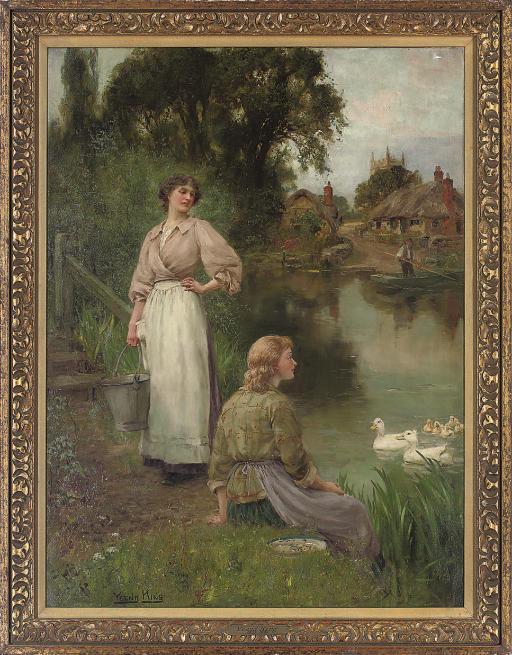 Feeding the ducks, a summer day by the river