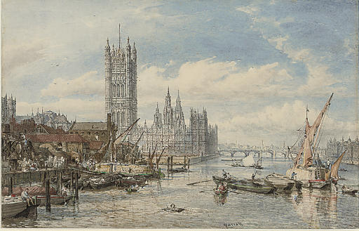 Houses of Parliament and Westminster Bridge from the South Bank of the River Thames