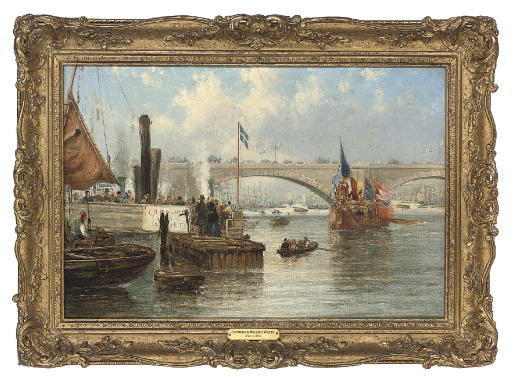 The mayoral barge at London Bridge