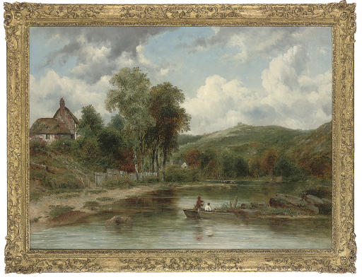 Wooded landscape with figures in a boat, cottages beyond