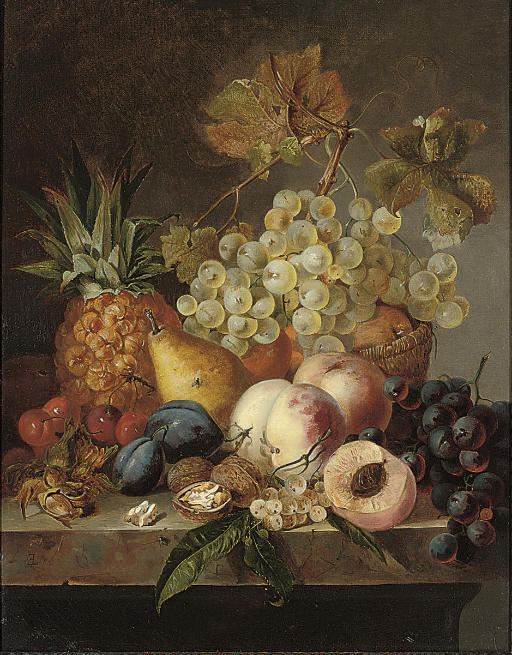 Grapes, peaches, cherries, walnuts, hazelnuts, a pear and a pineapple on a ledge