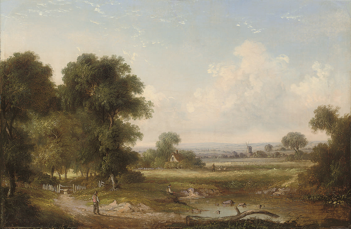 Figures by a wooded pool, a shepherd and his  flock beyond