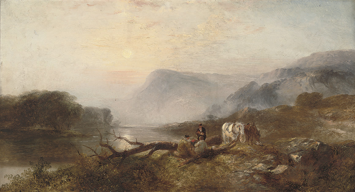 Travellers resting on a river bank in an upland landscape