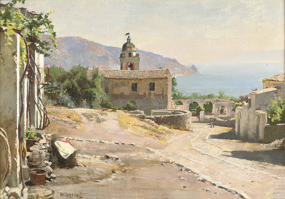An Italian village overlooking the sea