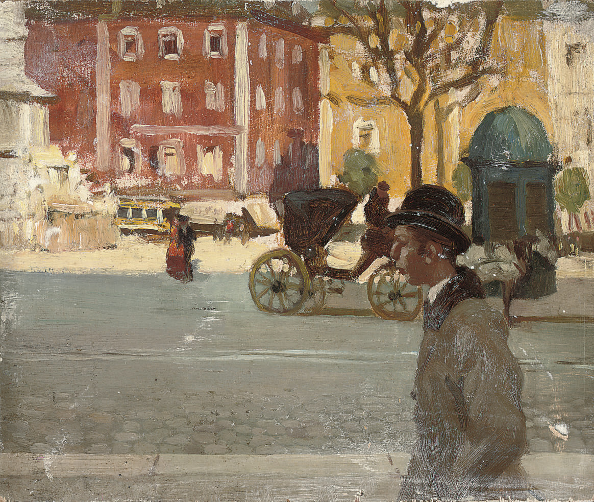 Figures in a city street, possibly Paris