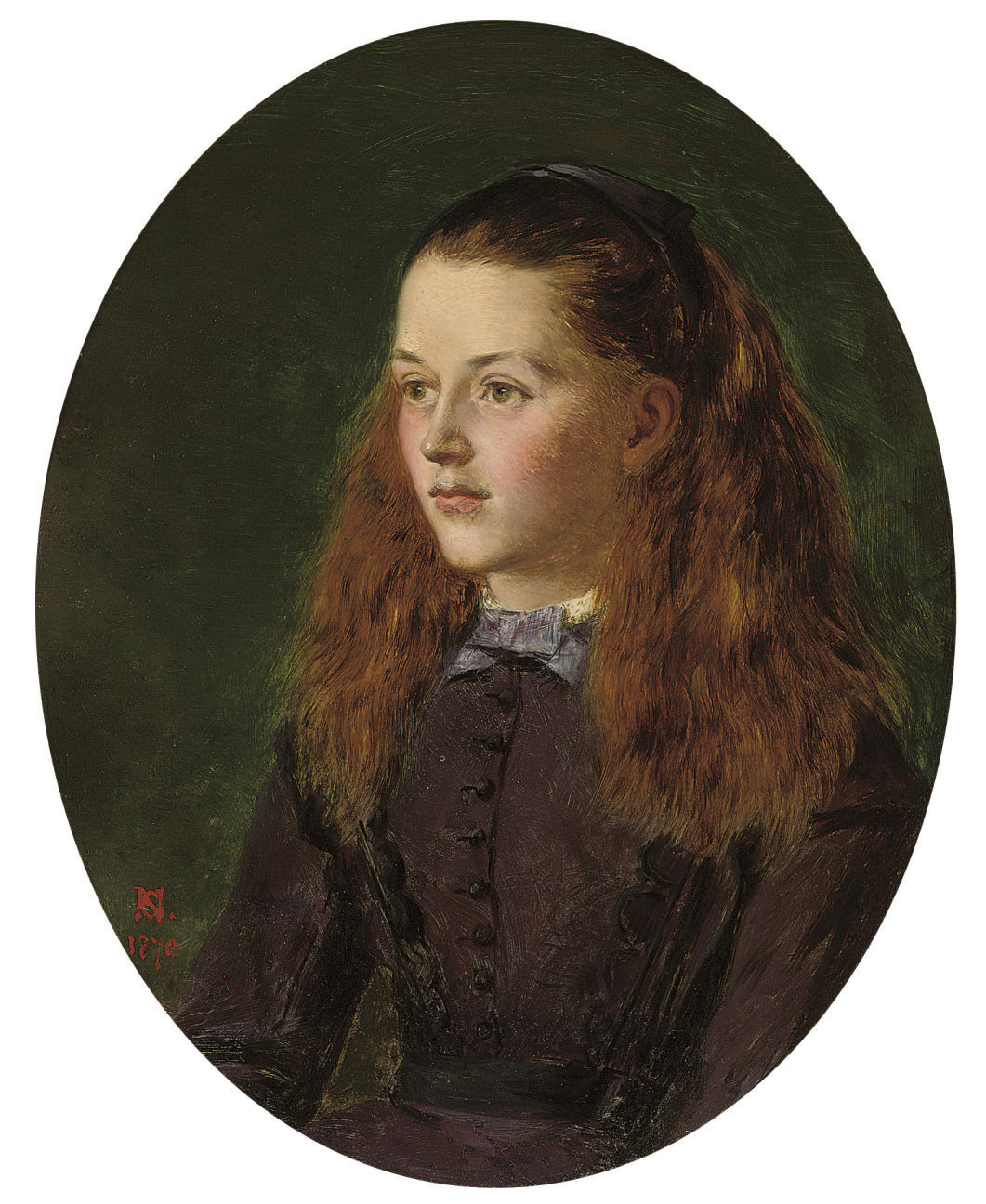Portrait of Fanny Frith, youngest daughter of William Powell Frith, R.A., half-length, in an oval mount