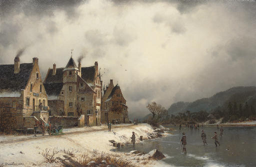 Skaters on a winter waterway
