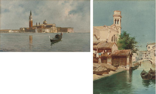 A gondola on the Venetian lagoon, San Giorgio Maggiore beyond; and Squero di San Trovaso, Dorsoduro, Venice