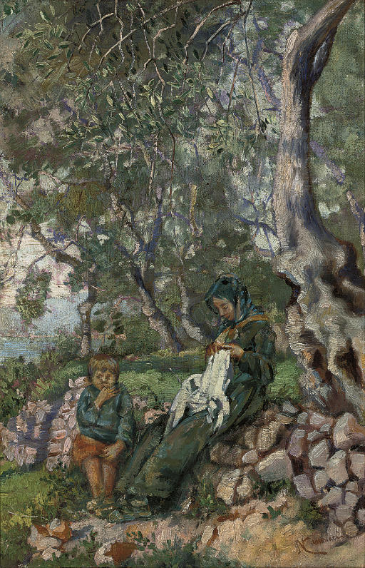 A mother and son by an olive grove before the sea