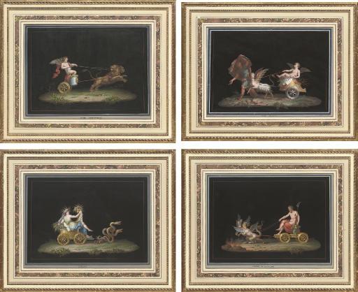 Amor Magnanimo; Amor Geloso; Cerere; and Tiofo di Plutone, a set of 4 gouaches