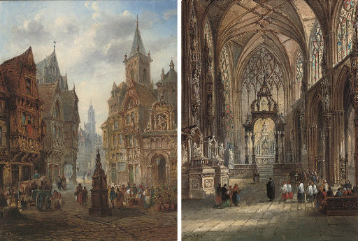 Sunlit cathedral interior; and Market day