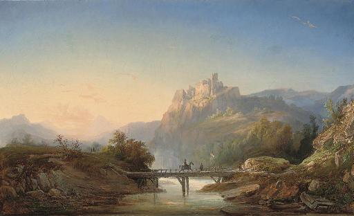 Travellers crossing a bridge before a ruined Citadel