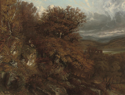 Travellers in a wooded valley