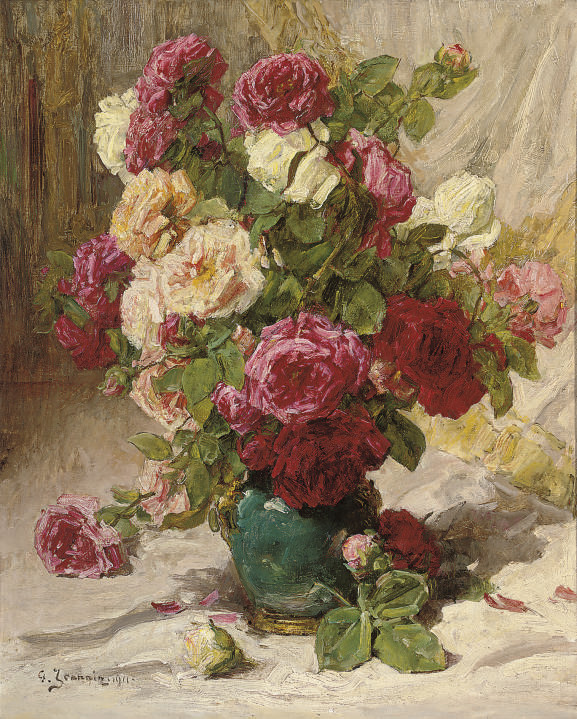 Red, yellow and white roses in a green vase