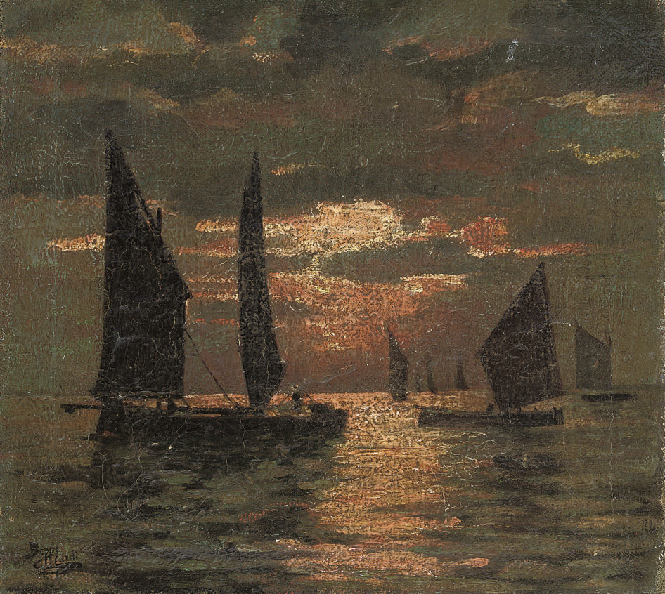 Vessels on the lagoon at dusk