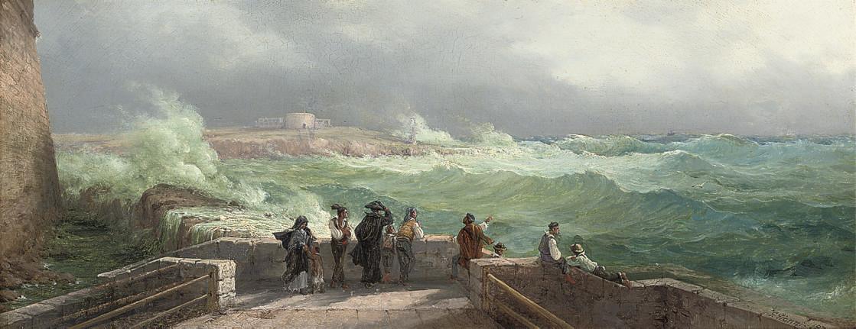 Figures waiting at the quay, Manoel Island, Malta, Fort Tigné beyond