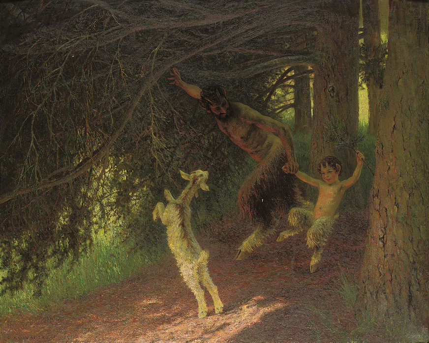 Fauns gamboling in the forest