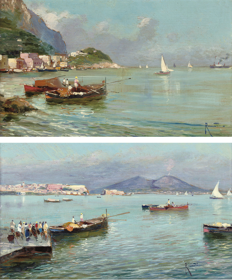 Bay of Naples, Vesuvius beyond; and Fishermen bringing in the catch