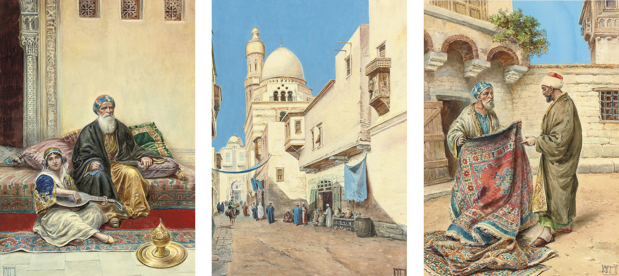 Playing a tune in a harem; The carpet seller; and a bustling street, Cairo
