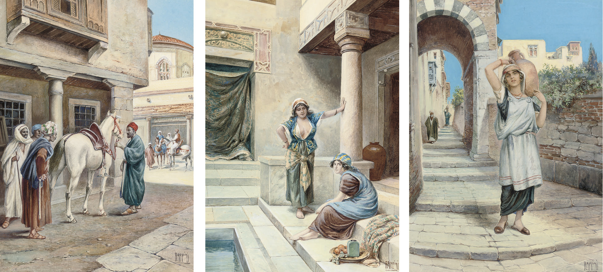 Interior of a harem; Selling a horse; and A Water carrier - Cairo