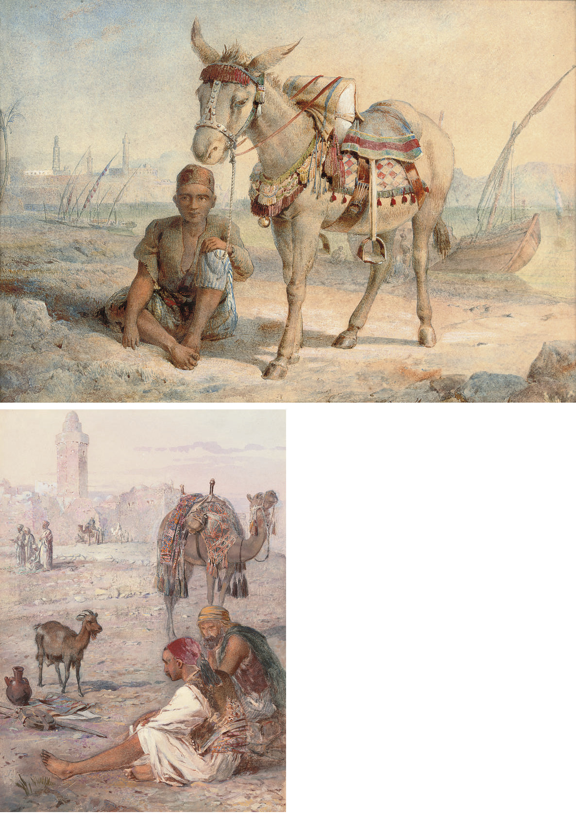 A rest before the city gates; and The muleteer
