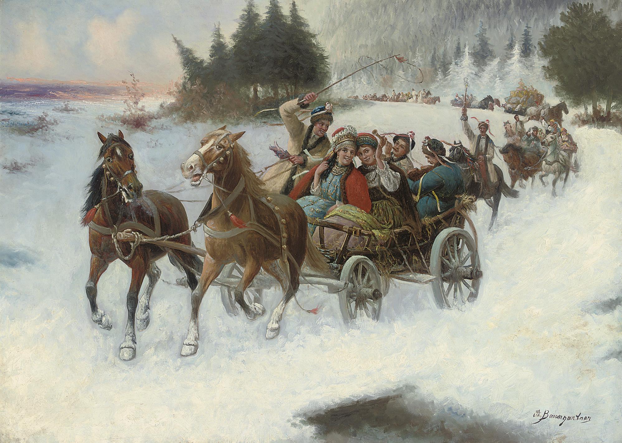 A happy sleigh-ride