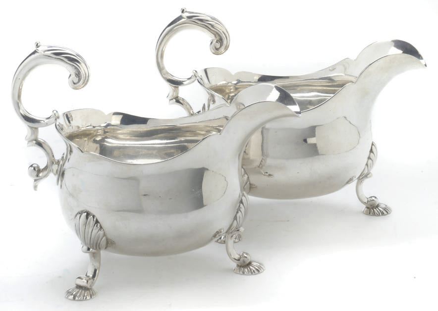 A PAIR OF GEORGE II SILVER SAUCEBOATS