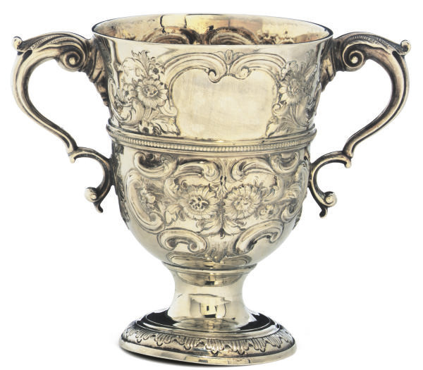 A GEORGE III IRISH SILVER TWO-HANDLED CUP