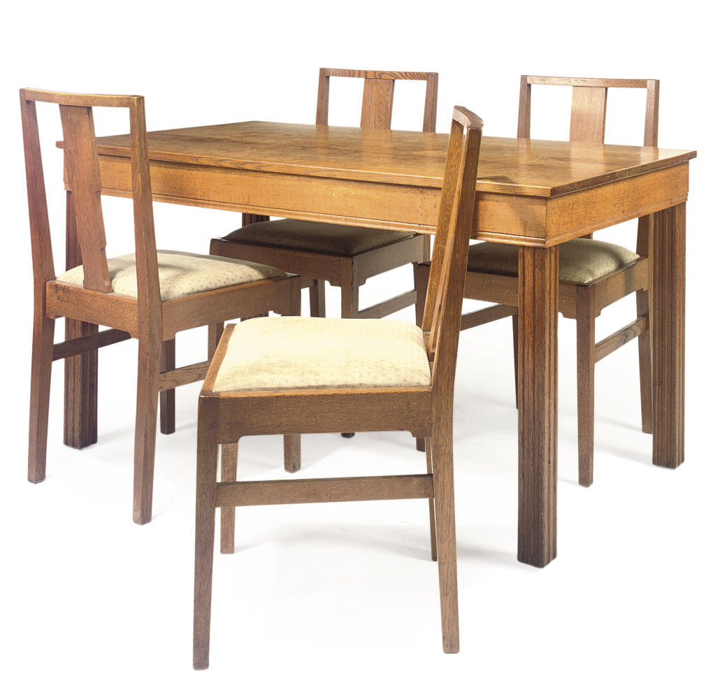 A GORDON RUSSELL OAK DINING SUITE
