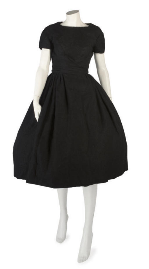 BALMAIN COUTURE, A FINE BLACK WOOL COCKTAIL DRESS