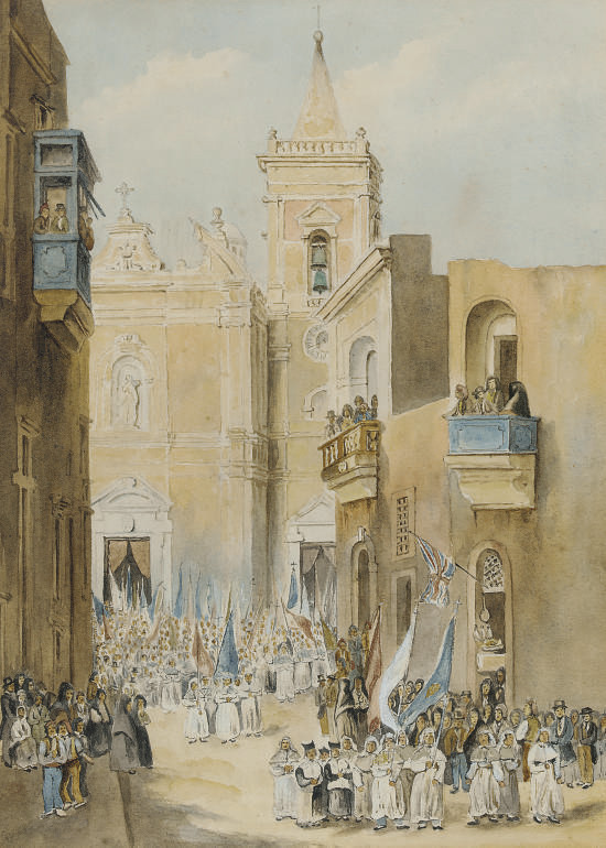 A religious festival infront of a Cathedral