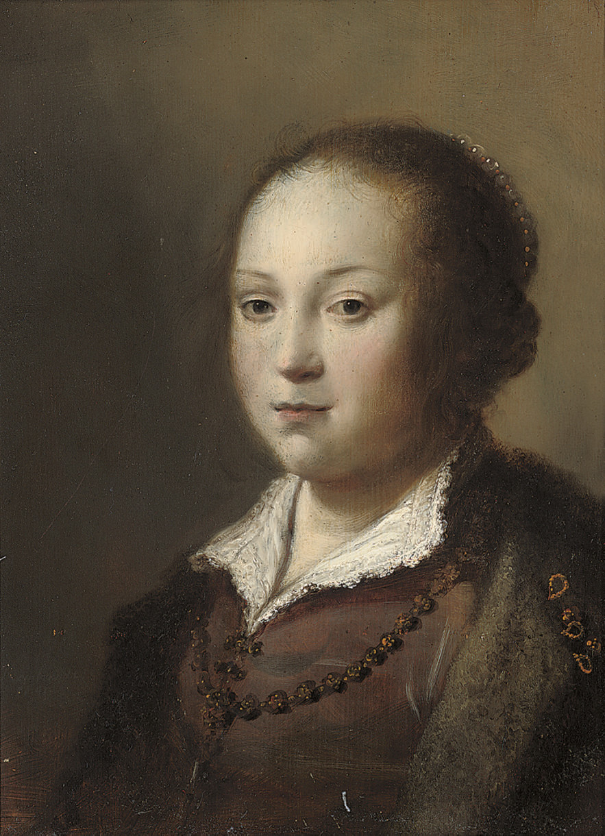 Portrait of a girl, bust-length, in a brown dress and fur-trimmed coat