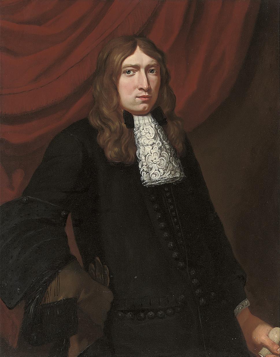 Portrait of a gentleman, half-length, in a black coat, wearing a hawking glove