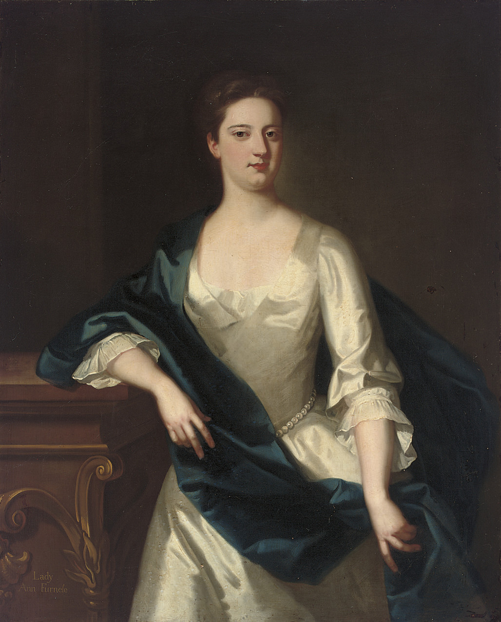 Portrait of Lady Anne Furnese, three-quarter-length, in an oyster satin dress, and a blue wrap, her right arm resting on a plinth