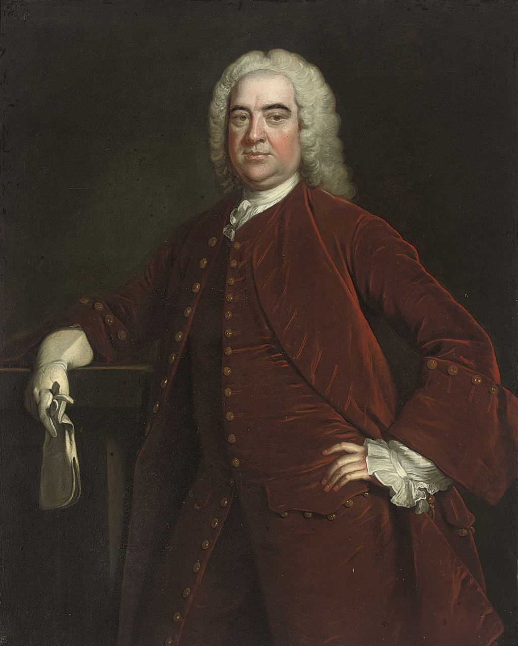 Portrait of George Speke of Curry Revel and White Lackington, three-quarter-length, in a red velvet coat and waistcoat, gloves in his right hand