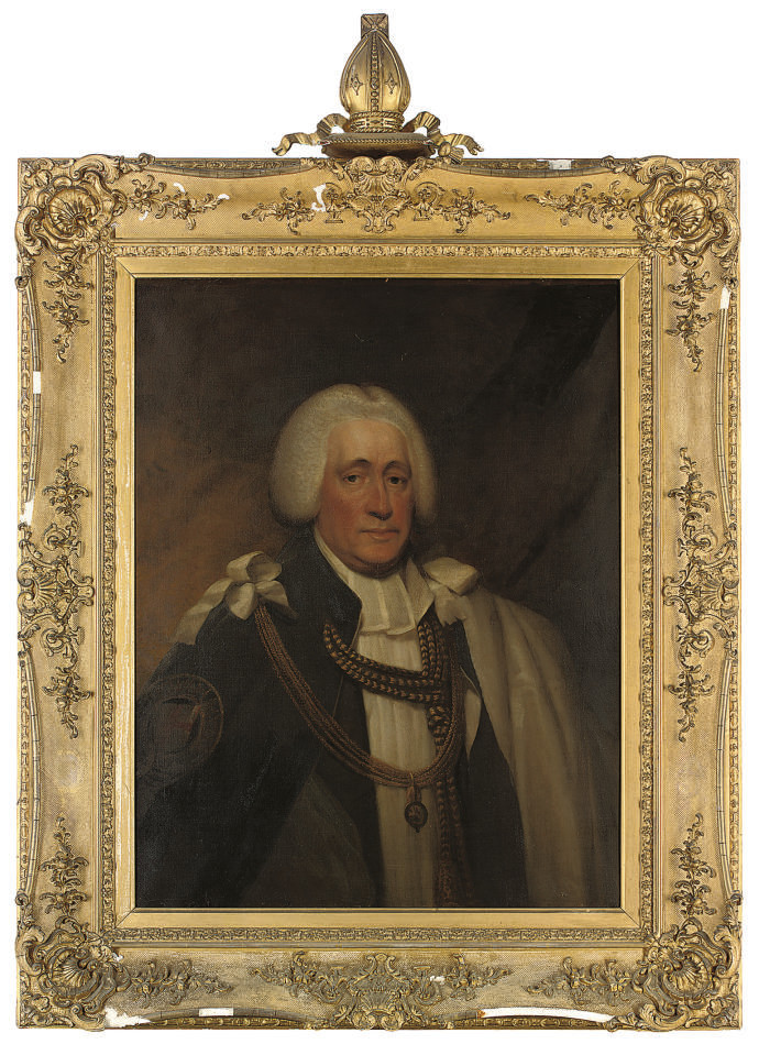 Portrait of the Hon. Brownlow North, Bishop of Winchester and Prelate of the Order of the Garter (1741-1820), half-length, in garter robes