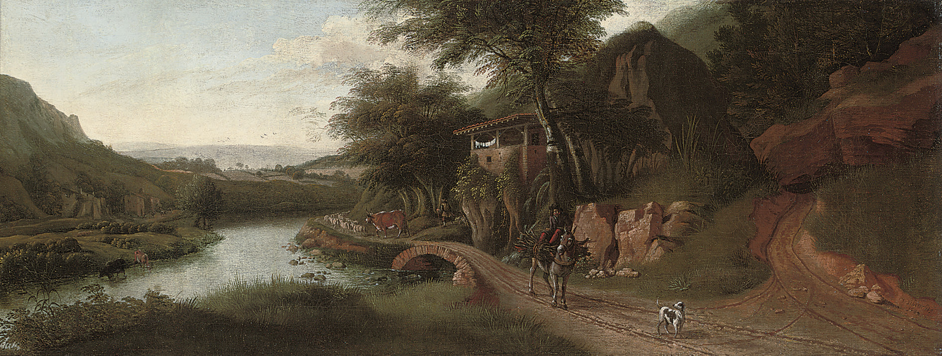 A wooded river landscape with cattle watering, a drover on a donkey, and a dog on a track