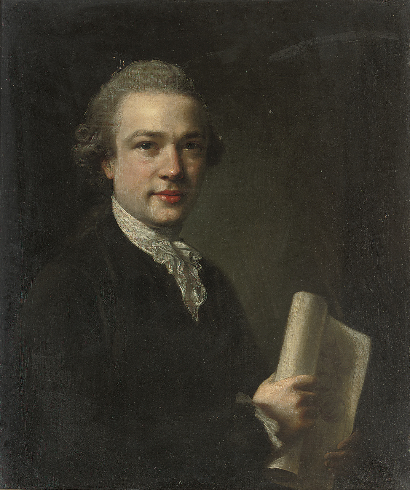 Portrait of George Gostling, half-length, a drawing of the Madonna and Child in his right hand