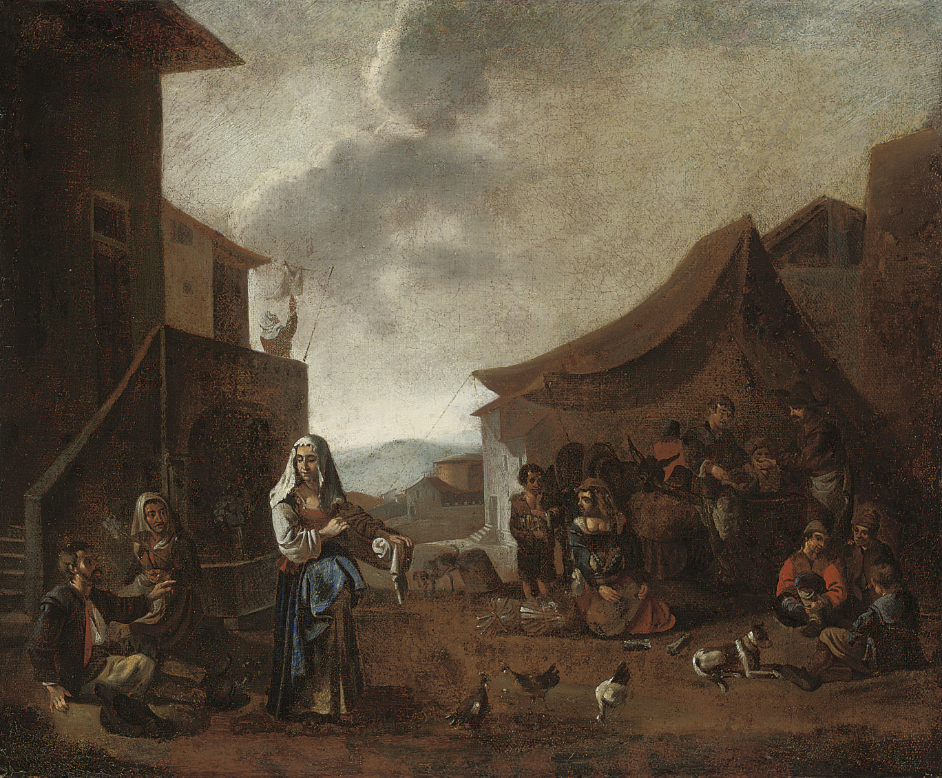 Peasants in a village square
