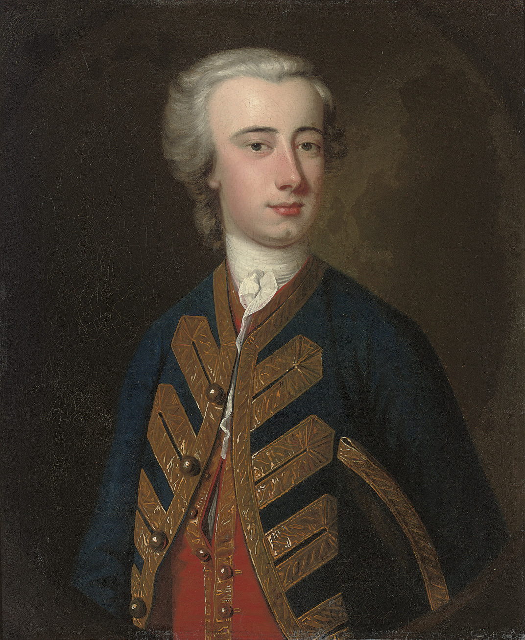 Portrait of a naval officer, half-length, in uniform, a tricorn under his arm, in a feigned oval