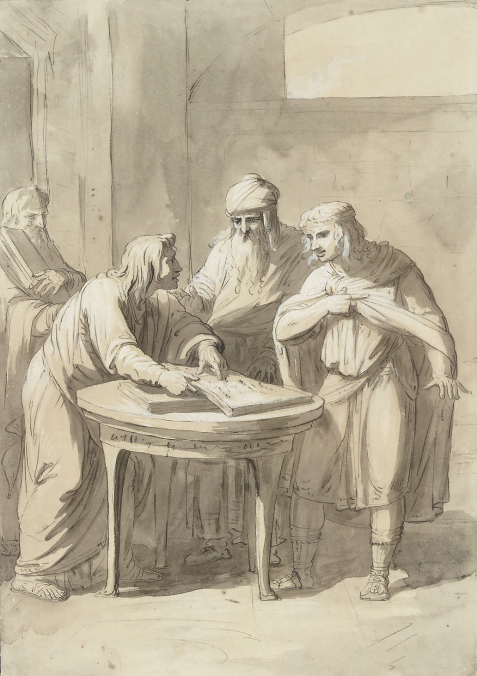 Four men in an interior, one pointing at a passage in a book