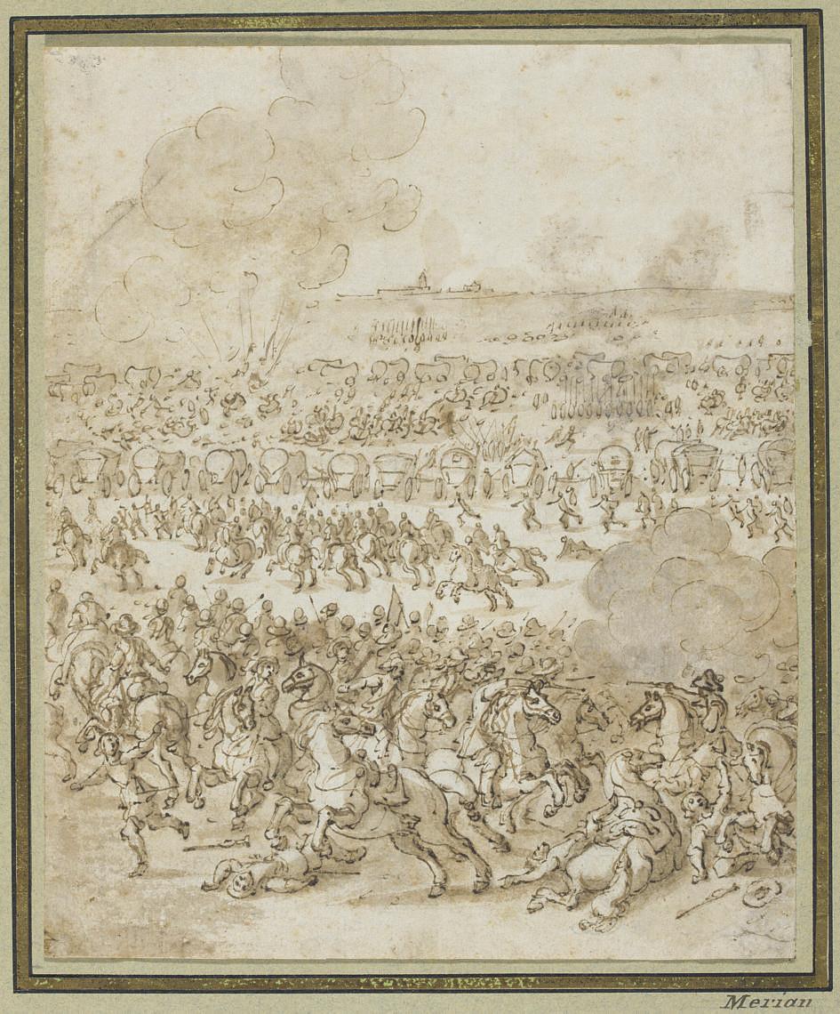 A cavalry battle, a town on the skyline