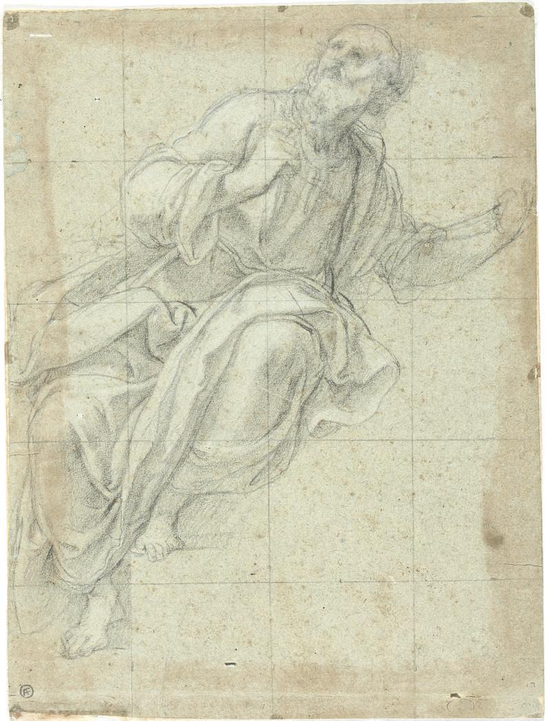 Study of a seated saint