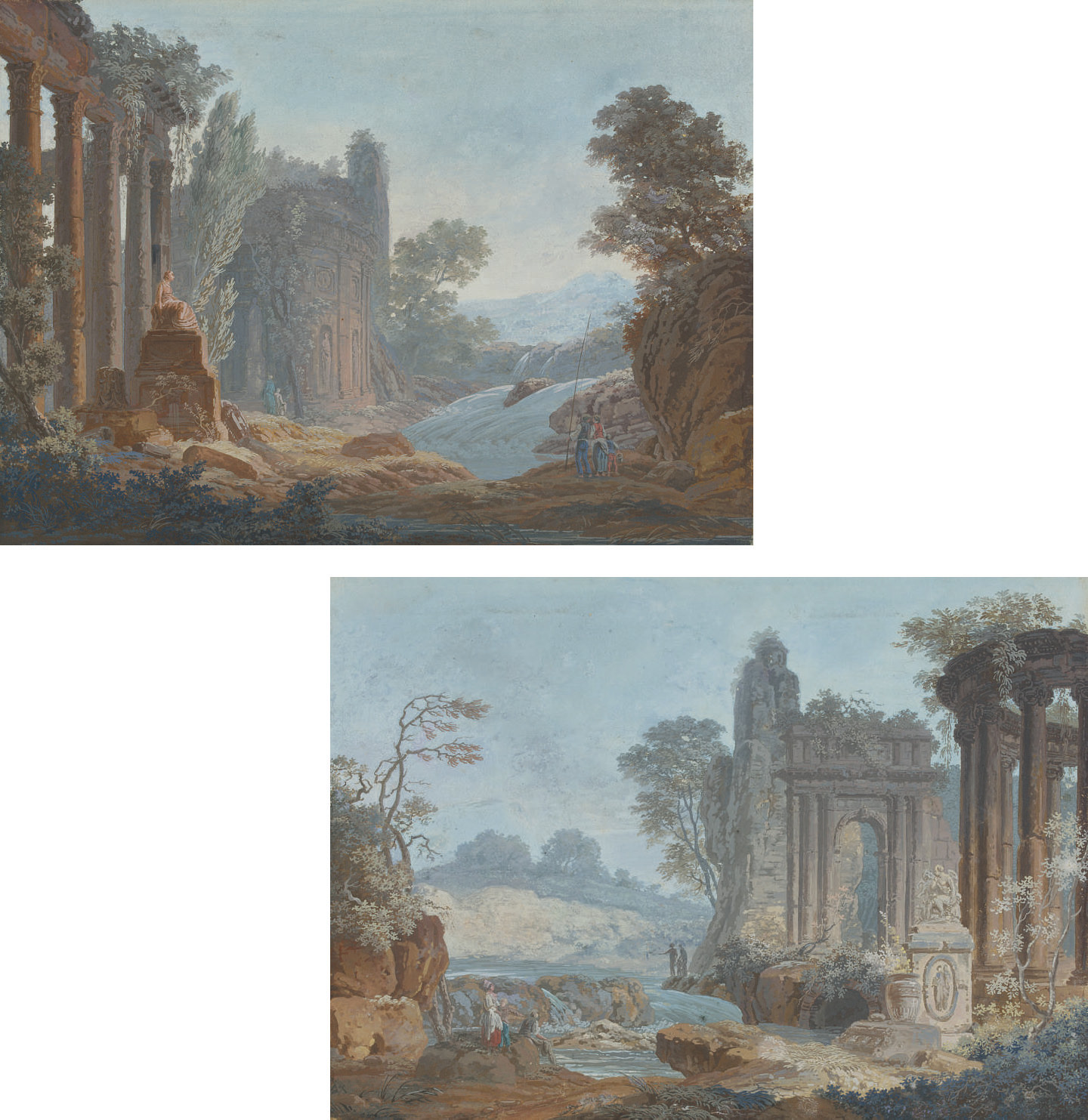 Two landscapes with classical ruins and figures