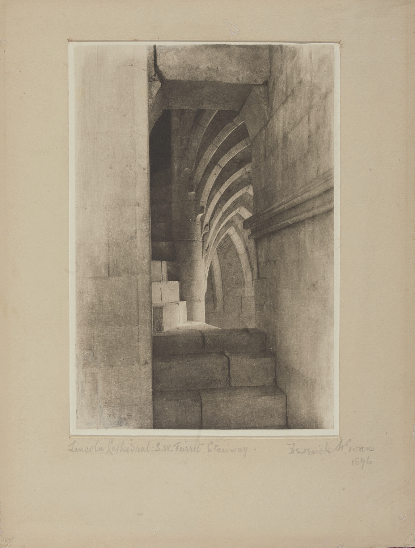 Lincoln Cathedral, Stairs in the S.W. Stairway, 1896