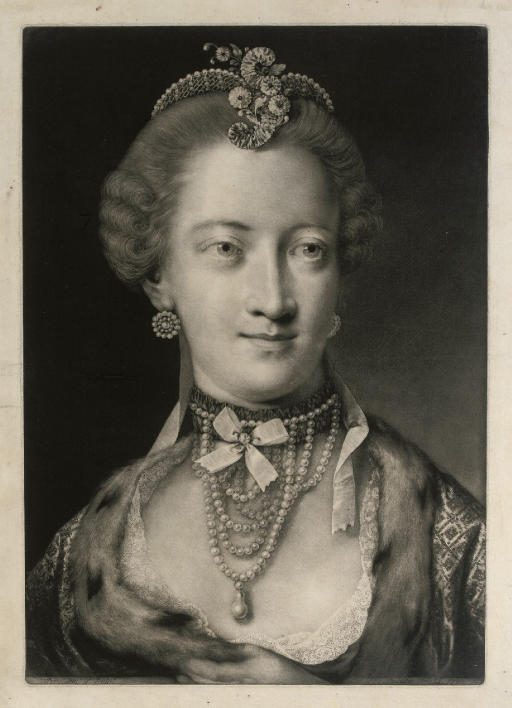 A Fashionable Lady, with a Pearl Necklace and Pearl Diadem Supporting a Scroll and Spray of Flowers, from Life-sized Heads, second series